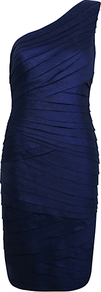 One Shoulder Shimmer Dress, Blue - neckline: low v-neck; fit: tight; pattern: plain; sleeve style: sleeveless; style: bodycon; waist detail: fitted waist; bust detail: ruching/gathering/draping/layers/pintuck pleats at bust; predominant colour: navy; occasions: evening, occasion; length: just above the knee; fibres: polyester/polyamide - stretch; sleeve length: sleeveless; texture group: structured shiny - satin/tafetta/silk etc.; pattern type: fabric