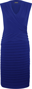 Shutter Dress, Blue Lapis - style: shift; neckline: v-neck; pattern: plain; sleeve style: sleeveless; waist detail: fitted waist; bust detail: ruching/gathering/draping/layers/pintuck pleats at bust; predominant colour: royal blue; occasions: evening, occasion; length: just above the knee; fit: body skimming; fibres: polyester/polyamide - stretch; sleeve length: sleeveless; hip detail: ruffles/tiers/tie detail at hip; pattern type: fabric; texture group: other - stretchy