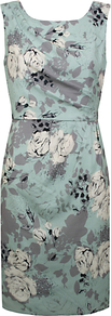 Rosa Print Dress, Green Multi - style: shift; fit: tailored/fitted; sleeve style: sleeveless; waist detail: fitted waist; secondary colour: ivory; predominant colour: pistachio; occasions: evening, work, occasion; length: just above the knee; fibres: polyester/polyamide - 100%; neckline: crew; sleeve length: sleeveless; texture group: cotton feel fabrics; pattern type: fabric; pattern size: standard; pattern: florals