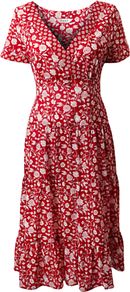 Carnation Spot Dress, Scarlet - length: below the knee; neckline: v-neck; fit: fitted at waist; secondary colour: white; predominant colour: burgundy; occasions: casual, holiday; style: fit &amp; flare; fibres: cotton - 100%; sleeve length: short sleeve; sleeve style: standard; pattern type: fabric; pattern size: small &amp; busy; pattern: patterned/print; texture group: jersey - stretchy/drapey