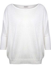 Kimono Sleeve Jumper, Ivory - neckline: slash/boat neckline; sleeve style: dolman/batwing; pattern: plain; length: below the bottom; style: standard; predominant colour: ivory; occasions: casual; fibres: linen - mix; fit: loose; sleeve length: 3/4 length; pattern type: knitted - other; texture group: jersey - stretchy/drapey