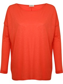 Oversized Jersey Top, Coral - neckline: round neck; pattern: plain; predominant colour: coral; occasions: casual; length: standard; style: top; fibres: viscose/rayon - 100%; fit: loose; sleeve length: long sleeve; sleeve style: standard; pattern type: fabric; pattern size: standard; texture group: jersey - stretchy/drapey