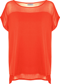 Mesh Yoke Jersey Top, Coral - neckline: round neck; pattern: plain; predominant colour: bright orange; occasions: casual, evening, holiday; length: standard; style: top; fibres: viscose/rayon - 100%; fit: body skimming; bust detail: contrast pattern/fabric/detail at bust; back detail: shorter hem at back than at front; sleeve length: short sleeve; sleeve style: standard; trends: volume; pattern type: fabric; texture group: jersey - stretchy/drapey