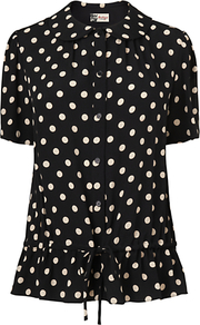 Polka Dot Gathered Blouse, Black - neckline: shirt collar/peter pan/zip with opening; waist detail: drop waist; style: blouse; pattern: polka dot; secondary colour: white; predominant colour: black; occasions: casual, work; length: standard; fibres: viscose/rayon - 100%; fit: straight cut; sleeve length: short sleeve; sleeve style: standard; texture group: silky - light; pattern type: fabric; pattern size: small &amp; busy
