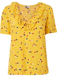 Frill Blouse, Yellow - neckline: v-neck; predominant colour: mustard; occasions: casual; length: standard; style: top; fibres: viscose/rayon - 100%; fit: straight cut; sleeve length: short sleeve; sleeve style: standard; bust detail: tiers/frills/bulky drapes/pleats; pattern type: fabric; pattern size: small &amp; light; pattern: patterned/print; texture group: jersey - stretchy/drapey