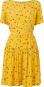 Floral Cluster Dress, Yellow - fit: fitted at waist; waist detail: fitted waist; predominant colour: yellow; occasions: casual, evening, holiday; length: just above the knee; style: fit & flare; fibres: viscose/rayon - 100%; neckline: crew; hip detail: soft pleats at hip/draping at hip/flared at hip; sleeve length: short sleeve; sleeve style: standard; pattern type: fabric; pattern size: small & busy; pattern: patterned/print; texture group: jersey - stretchy/drapey