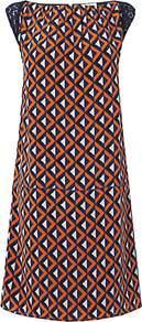 Geo Print Panel Dress, Orange - style: shift; sleeve style: capped; fit: tailored/fitted; shoulder detail: contrast pattern/fabric at shoulder; secondary colour: white; predominant colour: bright orange; occasions: evening, holiday; length: just above the knee; fibres: silk - 100%; neckline: crew; sleeve length: short sleeve; texture group: crepes; trends: modern geometrics; pattern type: fabric; pattern size: small & busy; pattern: patterned/print