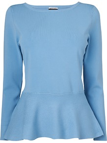 London Peplum Jumper, Light Blue - neckline: round neck; pattern: plain; style: standard; predominant colour: pale blue; occasions: casual, evening, work; length: standard; fibres: viscose/rayon - stretch; fit: slim fit; waist detail: peplum detail at waist; sleeve length: long sleeve; sleeve style: standard; pattern type: knitted - fine stitch; texture group: other - light to midweight