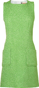 Fluro Tweed Dress, Bright Green - style: shift; length: mid thigh; neckline: round neck; fit: tailored/fitted; sleeve style: sleeveless; hip detail: front pockets at hip; predominant colour: lime; fibres: acrylic - mix; occasions: occasion; sleeve length: sleeveless; pattern type: fabric; texture group: tweed - bulky/heavy
