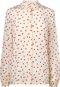 Ladybird Scalloped Blouse, Ivory - neckline: shirt collar/peter pan/zip with opening; style: shirt; predominant colour: ivory; secondary colour: true red; occasions: casual, work; length: standard; fibres: silk - 100%; fit: body skimming; sleeve length: long sleeve; sleeve style: standard; texture group: silky - light; pattern type: fabric; pattern size: small & busy; pattern: patterned/print