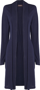 Kirsty Pointelle Cardigan, Navy - pattern: plain; neckline: collarless open; length: below the knee; predominant colour: navy; occasions: casual, evening, work; style: standard; fit: slim fit; sleeve length: long sleeve; sleeve style: standard; texture group: knits/crochet; pattern type: knitted - fine stitch; fibres: viscose/rayon - mix