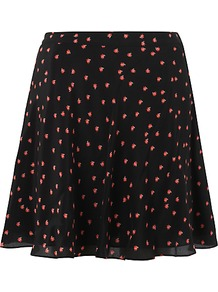 Ladybird Skater Skirt, Black - length: mid thigh; fit: loose/voluminous; waist: mid/regular rise; secondary colour: true red; predominant colour: black; occasions: casual, evening, work; style: a-line; fibres: silk - 100%; hip detail: soft pleats at hip/draping at hip/flared at hip; texture group: silky - light; pattern type: fabric; pattern size: small &amp; busy; pattern: patterned/print
