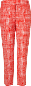Summer Silk Blend Check Trousers, Red - waist: mid/regular rise; secondary colour: white; predominant colour: true red; occasions: casual, evening, work, occasion, holiday; length: ankle length; fibres: silk - mix; texture group: structured shiny - satin/tafetta/silk etc.; fit: slim leg; pattern type: fabric; pattern size: small & busy; pattern: patterned/print; style: standard