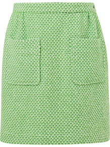 Patch Pocket Tweed Skirt, Bright Green - length: mid thigh; pattern: plain; style: straight; hip detail: front pockets at hip; waist: mid/regular rise; predominant colour: lime; occasions: work; fibres: acrylic - mix; fit: straight cut; pattern type: fabric; pattern size: small &amp; busy; texture group: tweed - light/midweight