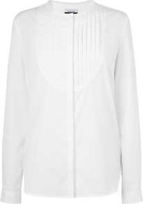 Pleated Bib Shirt, White - pattern: plain; length: below the bottom; style: shirt; bust detail: ruching/gathering/draping/layers/pintuck pleats at bust; predominant colour: white; occasions: evening, work; neckline: collarstand; fibres: cotton - 100%; fit: loose; sleeve length: long sleeve; sleeve style: standard; texture group: cotton feel fabrics; trends: tuxedo; pattern type: fabric