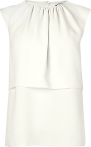 London Layered Summer Blouse, Ivory - neckline: round neck; pattern: plain; sleeve style: sleeveless; waist detail: peplum waist detail; bust detail: ruching/gathering/draping/layers/pintuck pleats at bust; predominant colour: white; occasions: casual, work, occasion; length: standard; style: top; fibres: polyester/polyamide - 100%; fit: straight cut; back detail: keyhole/peephole detail at back; sleeve length: sleeveless; pattern type: fabric; texture group: jersey - stretchy/drapey
