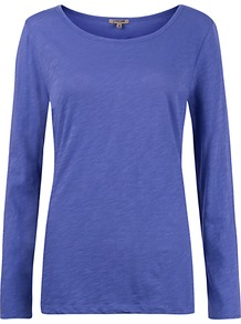 Crew Neck Jersey Top - pattern: plain; predominant colour: indigo; occasions: casual, work; length: standard; style: top; neckline: scoop; fibres: cotton - 100%; fit: body skimming; sleeve length: long sleeve; sleeve style: standard; texture group: cotton feel fabrics; pattern type: fabric