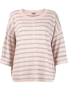 Slouchy Striped Jumper - neckline: round neck; pattern: horizontal stripes; style: standard; predominant colour: blush; secondary colour: light grey; occasions: casual; length: standard; fibres: wool - mix; fit: loose; sleeve length: 3/4 length; sleeve style: standard; texture group: knits/crochet; pattern type: knitted - other; pattern size: standard