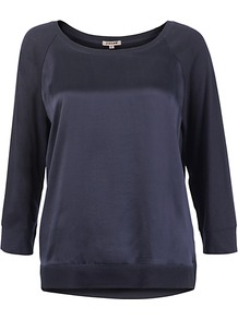 Silk Front Jumper - neckline: scoop neck; sleeve style: raglan; pattern: plain; style: standard; predominant colour: navy; occasions: casual, work; length: standard; fit: standard fit; bust detail: contrast pattern/fabric/detail at bust; sleeve length: 3/4 length; texture group: knits/crochet; pattern type: knitted - fine stitch; fibres: viscose/rayon - mix