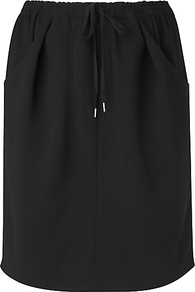 Drawstring Skirt, Black - pattern: plain; style: straight; waist: high rise; waist detail: belted waist/tie at waist/drawstring; predominant colour: black; occasions: casual; length: just above the knee; fibres: polyester/polyamide - 100%; trends: sporty redux; fit: straight cut; pattern type: fabric; texture group: jersey - stretchy/drapey