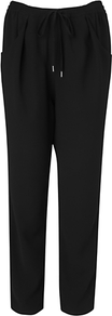 London Peg Leg Trousers, Black - length: standard; pattern: plain; waist detail: elasticated waist; pocket detail: pockets at the sides; waist: mid/regular rise; predominant colour: black; occasions: casual, evening, work; fibres: polyester/polyamide - 100%; texture group: crepes; fit: straight leg; pattern type: fabric; style: standard