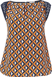Geo Print Panel Top, Orange - neckline: slash/boat neckline; sleeve style: capped; shoulder detail: contrast pattern/fabric at shoulder; secondary colour: black; occasions: casual, evening, work; length: standard; style: top; fibres: silk - 100%; fit: body skimming; back detail: keyhole/peephole detail at back; predominant colour: multicoloured; sleeve length: short sleeve; texture group: silky - light; trends: modern geometrics; pattern type: fabric; pattern size: standard; pattern: patterned/print; embellishment: embroidered