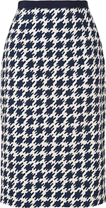 Dogstooth Skirt, Navy - length: below the knee; style: straight; waist: high rise; secondary colour: white; predominant colour: navy; occasions: casual, work; fibres: cotton - stretch; waist detail: narrow waistband; pattern: dogtooth; fit: straight cut; pattern type: fabric; pattern size: big & busy; texture group: woven light midweight