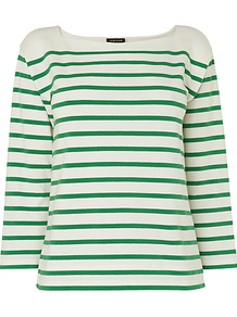Breton Stripe Top, Green - neckline: slash/boat neckline; pattern: horizontal stripes; predominant colour: emerald green; occasions: casual, work; length: standard; style: top; fibres: cotton - stretch; fit: straight cut; sleeve length: 3/4 length; sleeve style: standard; pattern type: fabric; pattern size: small & light; texture group: jersey - stretchy/drapey