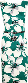 Hibiscus Print Shift Dress, Green - style: shift; neckline: slash/boat neckline; fit: tailored/fitted; sleeve style: sleeveless; waist detail: belted waist/tie at waist/drawstring; predominant colour: dark green; occasions: evening, work, occasion; length: just above the knee; fibres: cotton - stretch; sleeve length: sleeveless; texture group: cotton feel fabrics; trends: high impact florals, glamorous day shifts; pattern type: fabric; pattern size: big & busy; pattern: florals