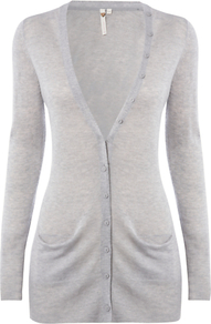 Decadence Cardigan, Birch Grey - neckline: low v-neck; pattern: plain; predominant colour: light grey; occasions: casual, work; style: standard; fibres: cotton - mix; fit: slim fit; length: mid thigh; sleeve length: long sleeve; sleeve style: standard; texture group: knits/crochet; pattern type: knitted - fine stitch