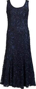 Cornelli Lace Dress, Navy - style: shift; length: calf length; sleeve style: sleeveless; predominant colour: navy; occasions: evening, occasion; fit: body skimming; neckline: scoop; fibres: nylon - mix; sleeve length: sleeveless; texture group: lace; pattern type: fabric; pattern size: big & busy; pattern: patterned/print; embellishment: embroidered