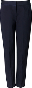 Hannah Trouser, Blue - length: standard; pattern: plain; pocket detail: small back pockets; waist: mid/regular rise; predominant colour: navy; occasions: evening, work; fibres: cotton - stretch; fit: straight leg; pattern type: fabric; texture group: other - light to midweight; style: standard