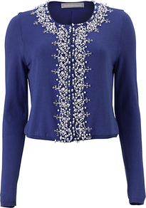Leonara Cardigan, Blue - neckline: round neck; pattern: plain; bust detail: added detail/embellishment at bust; length: cropped; predominant colour: royal blue; occasions: casual, evening, work, occasion; style: standard; fibres: cotton - mix; fit: slim fit; shoulder detail: added shoulder detail; sleeve length: long sleeve; sleeve style: standard; texture group: knits/crochet; pattern type: knitted - fine stitch; embellishment: beading