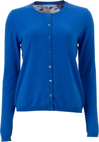 Lysanne Cardigan, Blue - neckline: round neck; pattern: plain; predominant colour: royal blue; occasions: casual, work; length: standard; style: standard; fibres: cotton - 100%; fit: standard fit; sleeve length: long sleeve; sleeve style: standard; texture group: knits/crochet; pattern type: knitted - fine stitch