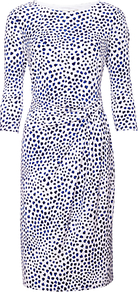Etienne Dress, Multi - style: shift; neckline: round neck; waist detail: twist front waist detail/nipped in at waist on one side/soft pleats/draping/ruching/gathering waist detail; predominant colour: white; secondary colour: navy; occasions: evening, work; length: on the knee; fit: body skimming; fibres: polyester/polyamide - stretch; sleeve length: 3/4 length; sleeve style: standard; texture group: jersey - clingy; pattern type: fabric; pattern size: small & busy; pattern: patterned/print