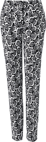 Verdi Trousers, Multi - length: standard; waist: mid/regular rise; secondary colour: white; predominant colour: black; occasions: casual, evening, holiday; fibres: polyester/polyamide - 100%; texture group: cotton feel fabrics; fit: slim leg; pattern type: fabric; pattern size: small &amp; busy; pattern: patterned/print; style: standard