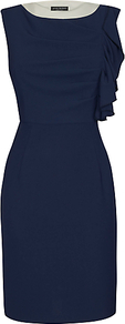 Ruffle Dress, Navy - style: shift; neckline: round neck; fit: tailored/fitted; pattern: plain; sleeve style: sleeveless; predominant colour: navy; length: on the knee; fibres: polyester/polyamide - stretch; occasions: occasion; sleeve length: sleeveless; texture group: crepes; pattern type: fabric