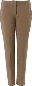 Hannah Trousers, Neutral - pattern: plain; waist: mid/regular rise; predominant colour: taupe; occasions: casual, evening, work; length: ankle length; fibres: cotton - stretch; texture group: cotton feel fabrics; fit: slim leg; pattern type: fabric; style: standard