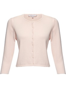 Coralee Cardigan, Candy - neckline: round neck; pattern: plain; length: cropped; predominant colour: blush; occasions: casual, work; style: standard; fibres: silk - mix; fit: slim fit; sleeve length: 3/4 length; sleeve style: standard; texture group: knits/crochet; pattern type: knitted - fine stitch