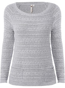 Jolly Jumper, Summer Ice - neckline: round neck; pattern: horizontal stripes; style: standard; predominant colour: light grey; occasions: casual, work; length: standard; fibres: cotton - mix; fit: standard fit; sleeve length: long sleeve; sleeve style: standard; texture group: knits/crochet; pattern type: knitted - fine stitch; pattern size: standard