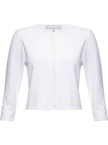 Coralee Cardigan - neckline: round neck; pattern: plain; length: cropped; predominant colour: white; occasions: casual, work, occasion, holiday; style: standard; fibres: silk - mix; fit: slim fit; sleeve length: 3/4 length; sleeve style: standard; texture group: knits/crochet; pattern type: knitted - fine stitch