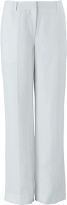 Erin Trousers, White - length: standard; pattern: plain; waist: mid/regular rise; predominant colour: white; occasions: casual, work; fibres: linen - mix; texture group: linen; fit: straight leg; pattern type: fabric; style: standard