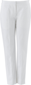 Hannah Trousers, White - length: standard; pattern: plain; waist: mid/regular rise; predominant colour: white; occasions: casual, evening, work; fibres: cotton - stretch; texture group: cotton feel fabrics; fit: straight leg; pattern type: fabric; style: standard