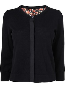 Bubble Print Cardigan, Black - neckline: round neck; back detail: contrast pattern/fabric at back; predominant colour: black; occasions: casual, evening, work; length: standard; style: standard; fibres: wool - 100%; fit: standard fit; sleeve length: 3/4 length; sleeve style: standard; texture group: knits/crochet; pattern type: knitted - fine stitch; pattern size: small &amp; busy; pattern: patterned/print