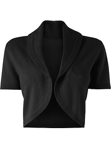 Pure Cashmere Shrug - pattern: plain; style: bolero/shrug; length: cropped; neckline: collarless open; predominant colour: black; occasions: evening, work, occasion; fit: slim fit; fibres: cashmere - 100%; sleeve length: short sleeve; sleeve style: standard; texture group: knits/crochet; pattern type: knitted - fine stitch