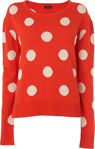 Large Spot Jumper - neckline: round neck; pattern: polka dot; style: standard; secondary colour: white; predominant colour: true red; occasions: casual, work; length: standard; fibres: cotton - 100%; fit: standard fit; sleeve length: long sleeve; sleeve style: standard; texture group: knits/crochet; pattern type: knitted - fine stitch; pattern size: big & light