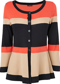 Colour Block Cardigan, Pink - neckline: round neck; predominant colour: bright orange; secondary colour: black; occasions: casual, evening, work; length: standard; style: standard; fibres: silk - mix; fit: standard fit; sleeve length: 3/4 length; sleeve style: standard; texture group: knits/crochet; trends: striking stripes; pattern type: knitted - fine stitch; pattern size: standard; pattern: colourblock