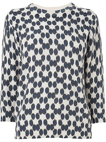 Blurred Spot Print Jumper, Navy - neckline: round neck; style: standard; secondary colour: white; predominant colour: navy; occasions: casual, work; length: standard; fibres: cotton - mix; fit: standard fit; sleeve length: 3/4 length; sleeve style: standard; texture group: knits/crochet; trends: statement prints; pattern type: knitted - fine stitch; pattern size: small &amp; busy; pattern: patterned/print