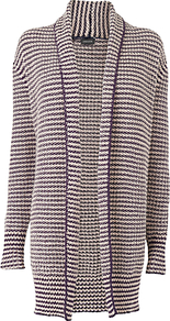 Textured Long Cardigan, Navy - pattern: horizontal stripes; neckline: collarless open; style: open front; predominant colour: navy; secondary colour: navy; occasions: casual, work; fibres: cotton - mix; fit: standard fit; length: mid thigh; sleeve length: long sleeve; sleeve style: standard; texture group: knits/crochet; pattern type: knitted - other; pattern size: standard