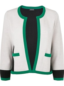 Colour Block Cardigan, Green - neckline: round neck; style: open front; secondary colour: ivory; predominant colour: emerald green; occasions: casual, work; length: standard; fibres: wool - 100%; fit: standard fit; sleeve length: 3/4 length; sleeve style: standard; texture group: knits/crochet; pattern type: knitted - other; pattern size: big & light; pattern: colourblock